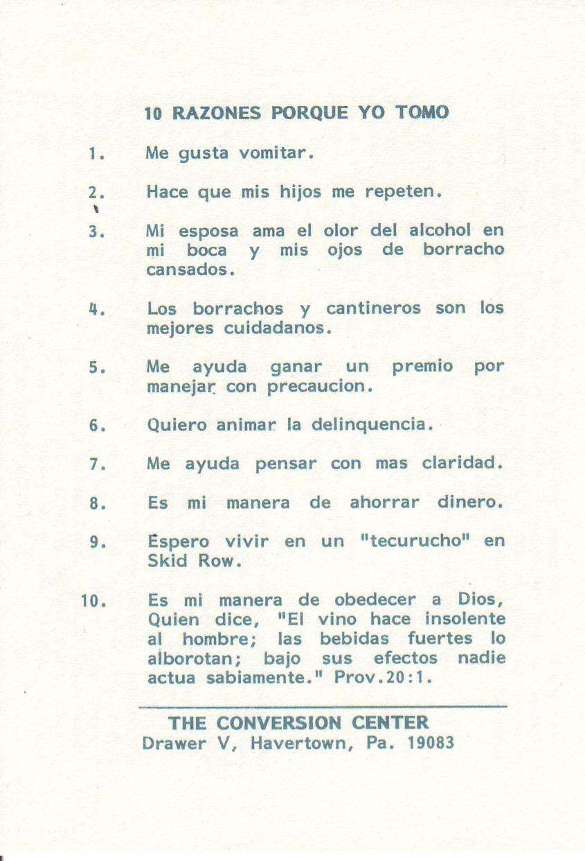 10 Reasons Why I Drink! (Spanish)