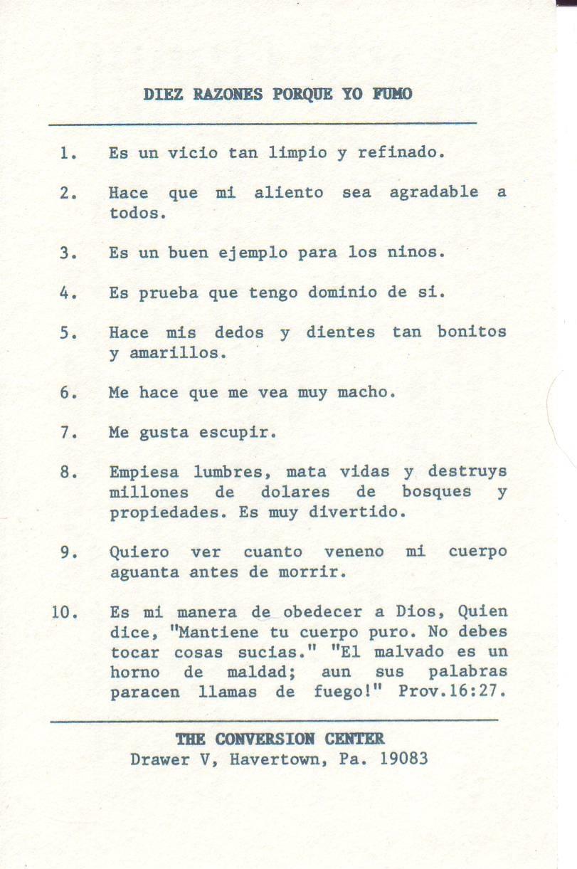 10 Reasons Why I Smoke! (Spanish)