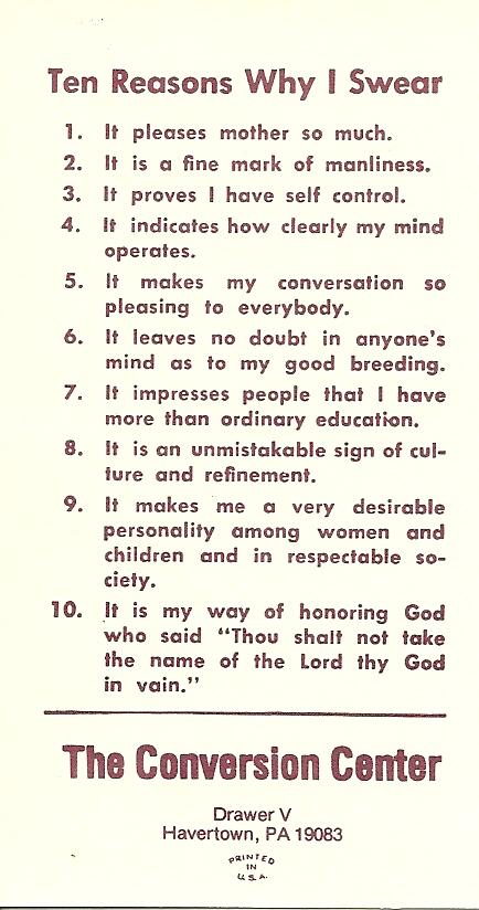 10 Reasons Why I Swear!