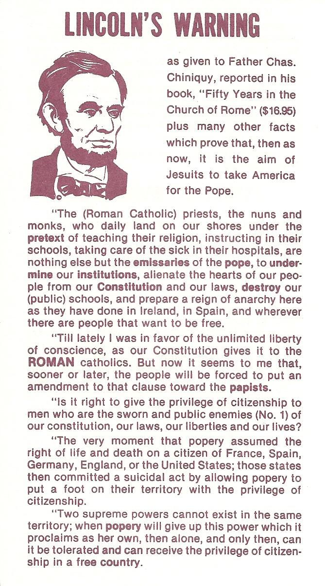 Abraham Lincoln's Warning