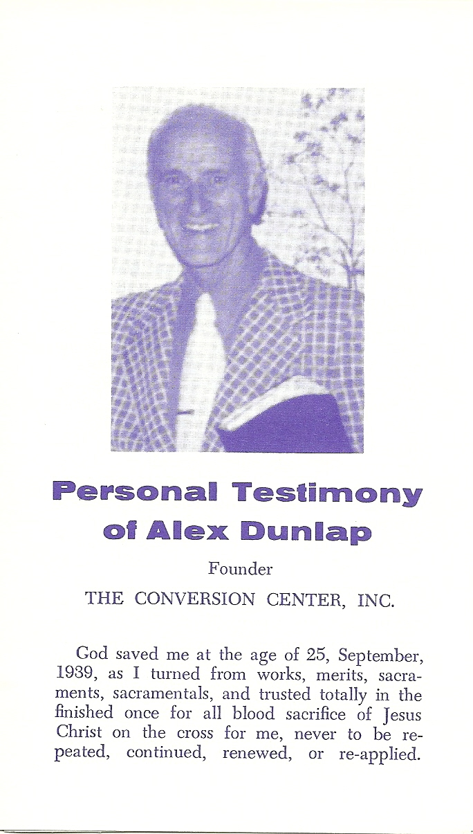 Personal Testimony  -  Alex O. Dunlap