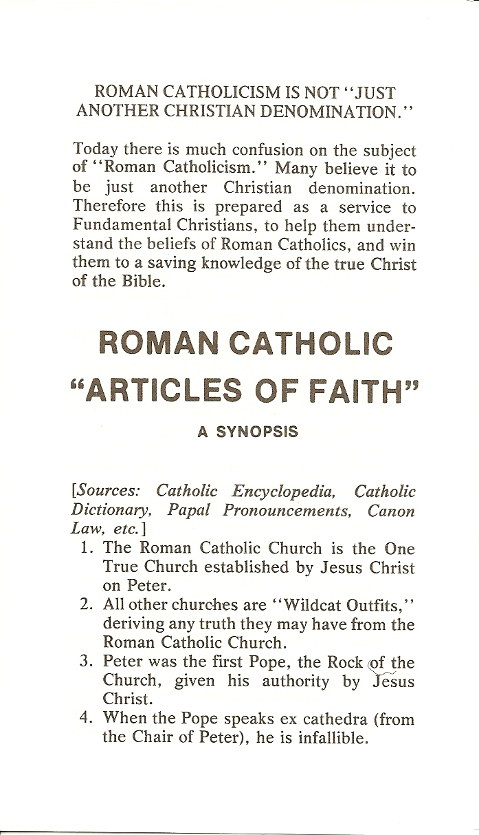 Roman Catholic Articles of Faith