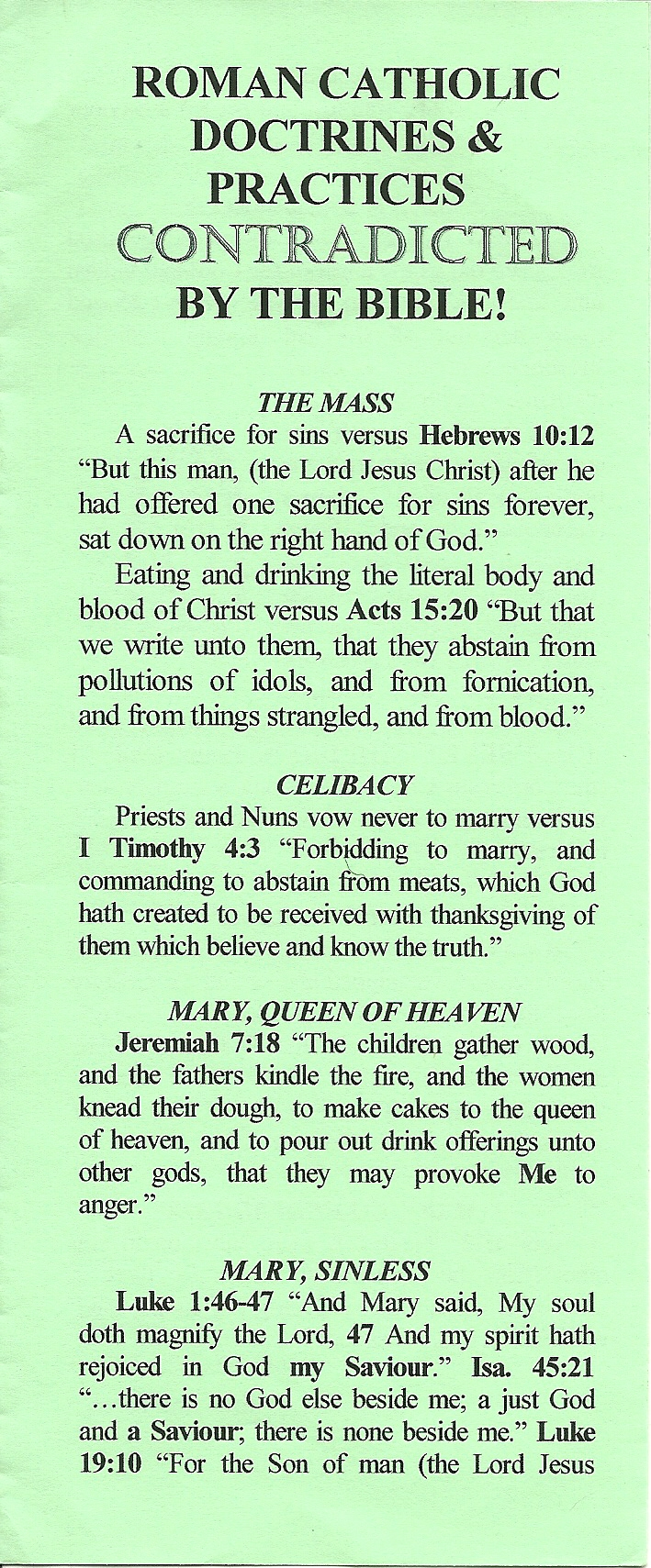 R.C. Doctrines & Practices Contradicted by the Bible