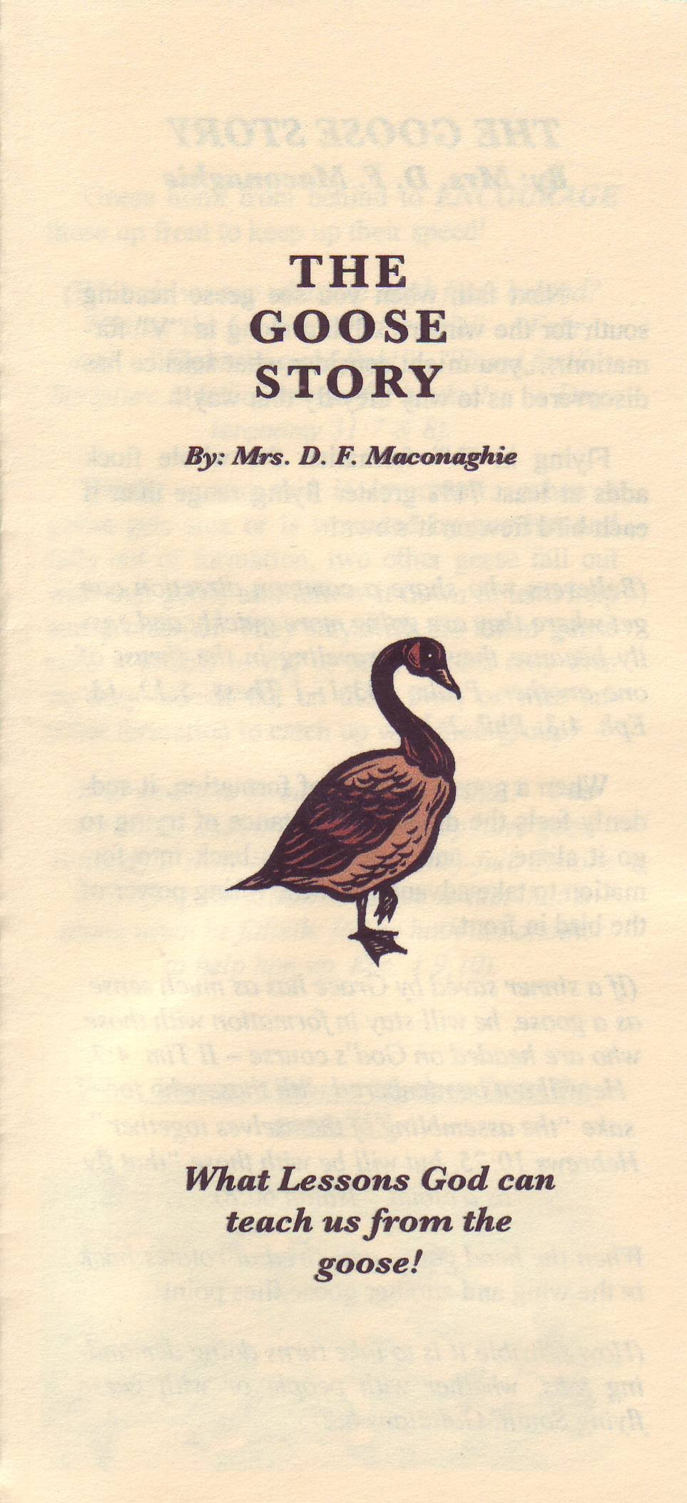 The Goose Story - Mrs. D. F. Maconaghie